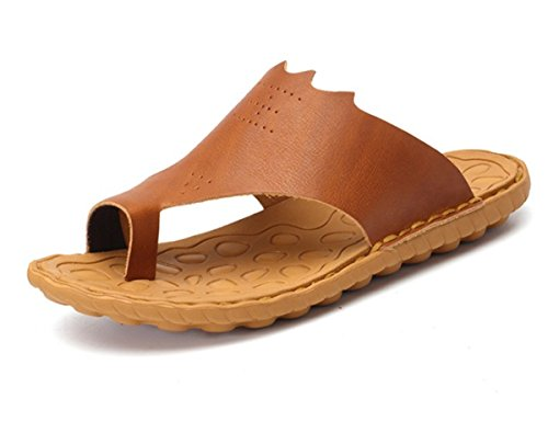 BININBOX Mens Flip-Flops Flat Sandal Breathable Shoe Slippers Rubber EVA Sole Light Brown IJwBEtAQ