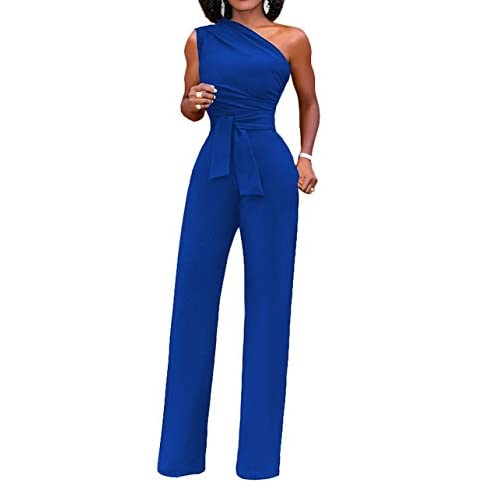 Hot DingAng Women's One Shoulder Sleeveless High Waist Jumpsuits Wide Leg Long Romper Pants With Belt for sale
