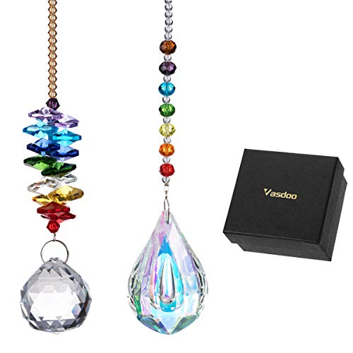 Vasdoo Glass Crystal Ball Prism Pendant Suncatcher Rainbow Maker for Window,Office,Garden Decoration with Gift Box, Pack of 2