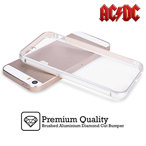 Officiel AC/DC ACDC Album Épingles De Bouton Argent Étui Coque Aluminium Bumper Slider pour Apple iPhone 6 Plus / 6s Plus