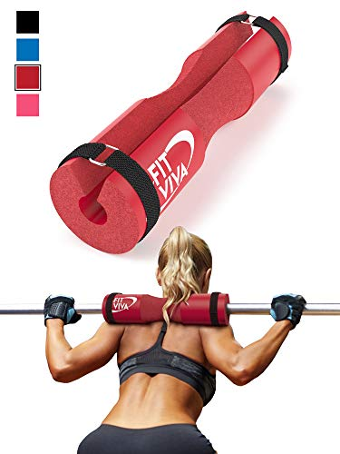 Neck Machine (Fit Viva Red Barbell Pad for Standard and Olympic Barbells with Velcro Safety Straps - Foam Pad for Weightlifting, Hip Thrusts, Squats, and Lunges)