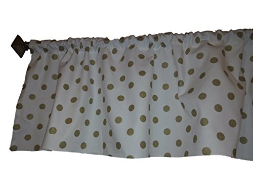 Gold polka dots on white valance curtain. yellow dots , Wind