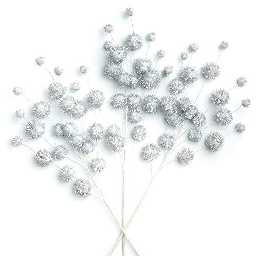 (Factory Direct Craft White Tinsel Pom Pom Picks | 6)