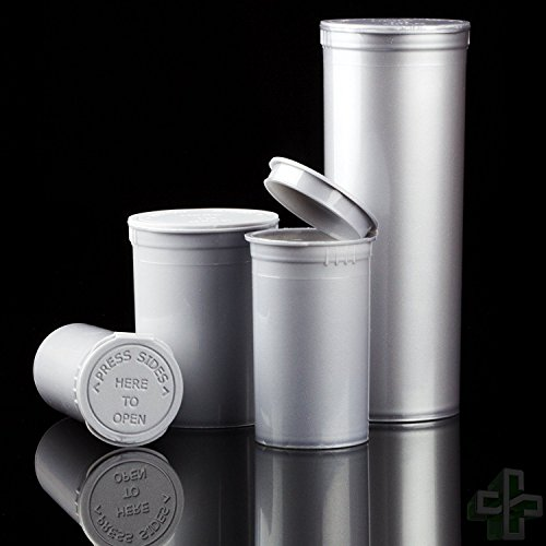 Pop Beauty Lid (Bulk Buy: Lot of 20 CPSC Opaque Silver Obsidian Pop Top Child Resistant Containers w/ Attached Lids - 19 Dram)