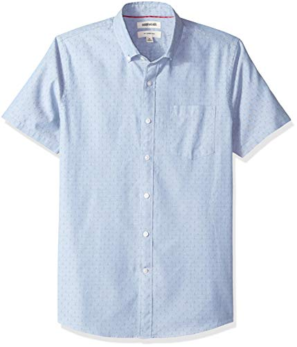 Goodthreads Men's Slim-Fit Short-Sleeve Dobby Shirt, -blue diamond, Large