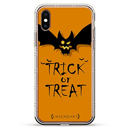TRICK OR TREAT SPOOKY BAT ORANGE HALLOWEEN | Luxendary Air Series Clear Silicone Case with 3D printed design and Air-Pocket Cushion Bumper for iPhone Xs Max (new 2018/2019 model with 6.5
