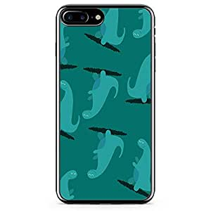 iPhone 7 Plus Transparent Edge Phone Case Cute Phone Case Dinosaur Pattern Phone Case Monster iPhone 7 Plus Cover with Transparent Frame