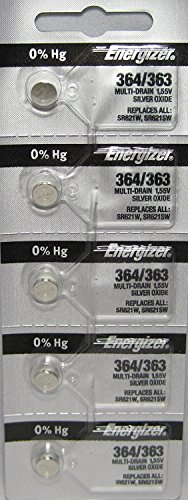 Wholesale New Pocket Watch - Energizer 364-363 1.55v #364/363 Low-drain Battery (SR621SW) Pack of 5 Batteries.