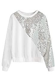 Long Sleeve Sequin Sweatshirt Coloblock Tunic