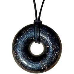 "Orgonite Pendant - Orgone Necklace - Black Sun Orgonite Donut Pendant - EMF Protection Jewelry - 30"" Black Leather Cord Necklace"
