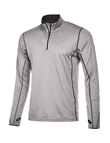 Coofandy Men's Long Sleeve Active Quarter-Zip Pullover - Quick Dry Sports Tops - Cycling Jersey Running Gym T Shirt,Grey,Large (Cycling Jersey T-shirt)