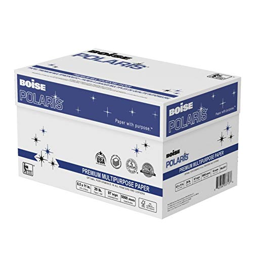 BOISE POLARIS Premium Multipurpose Paper, 8.5 x 11, 97 Bright White, 20 lb, 10 ream carton (5,000 Sheets)