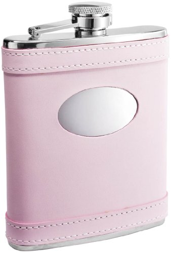 Visol  Pink Leather Flask for Women, 6-Ounce (Pink Leather Flask)
