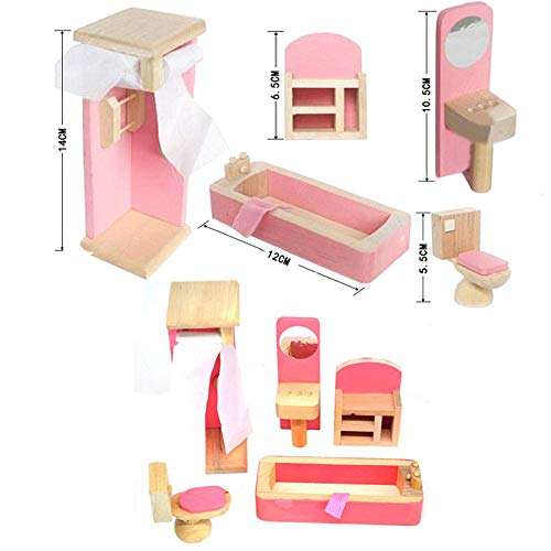 Homlifer Mini Doll Portable Furniture Toy Kids Girls Boys for Party (Portable Wooden Furniture, Wooden Refrigerator Bed Cabinet Bathtub Toilet Lamp)