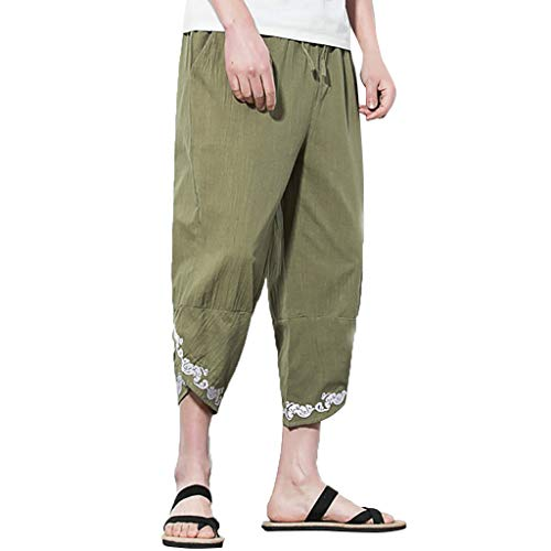 LUCAMORE Mens Casual Embroidered Elastic Waist Linen Capri Wide Leg Baggy Harem Pants Trousers Army Green