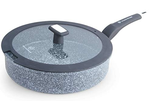 WaxonWare 11 Inch / 4.5 Quart All In One Large Nonstick Frying Pan With Lid - 100% PFOA PTFE APEO Free Stone Non Stick Skillet Suitable For All Stoves Including Induction (STONETEC Series)