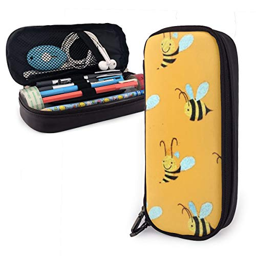 ROCKSKY Polyester Pencils Holder with Zipper, One Pocket Pencil Pouch Bag for Office Supply Accessories for Teen Student Kids Artist, Yellow Bees Storage Pouch ()