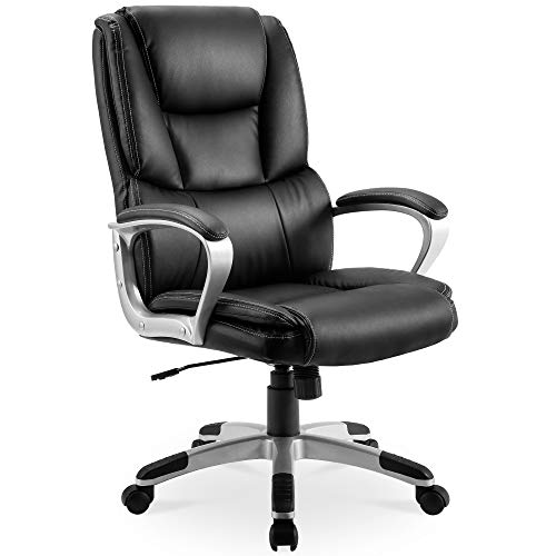 P PURLOVE Executive Office Chair PU Leather High Back Thick Padding Managerial Desk Chair Adjustable Computer Swivel Chair
