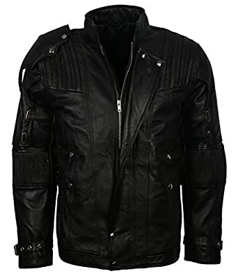 "Black Galaxy Mens Star Genuine Leather Lord Jacket (2XL - to fit chest 48-49"")"