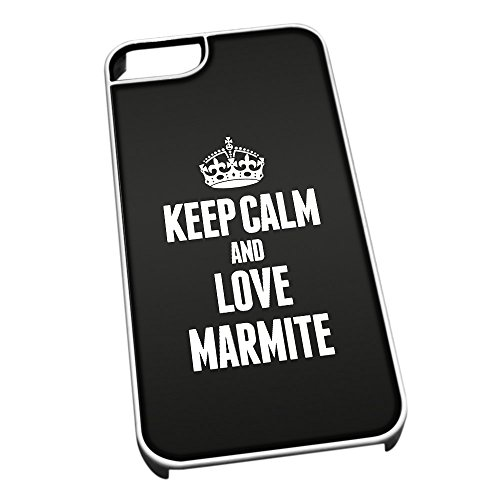 Bianco cover per iPhone 5/5S 1257nero Keep Calm and Love Marmite