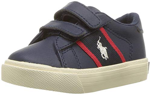 Polo Ralph Lauren Kids Boys' Geoff EZ Sneaker, Tumbled Navy/Red w/Cream PP, M115 M US Little Kid -