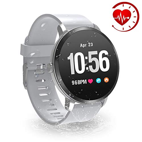 YoYoFit Smart Fitness Watch with Heart Rate Monitor, Waterproof Fitness Activity Tracker Step Counter with Music Player Control, Customized Face Look GPS Pedometer Watch for Women Men, Grey