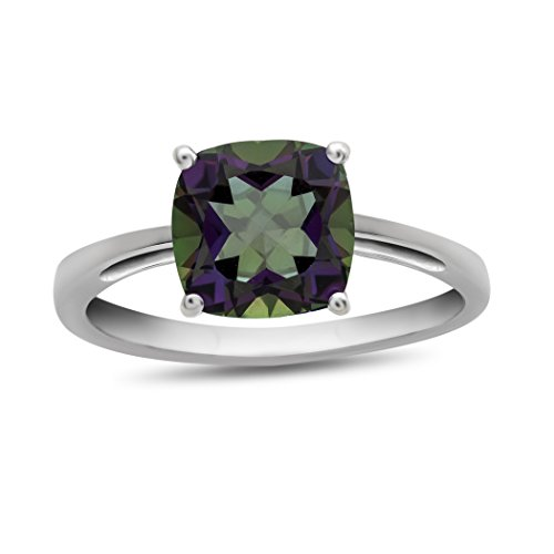 Finejewelers 10k White Gold 7mm Solitaire Cushion Mystic Topaz Ring Size 8 ()