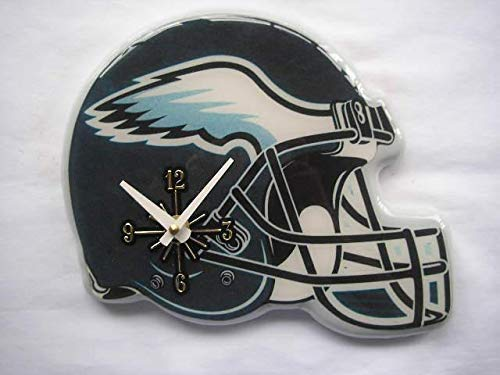MISC NFL Philadelphia Eagles Wall Clock Helmet Shaped Football Clock Sports Design Unique Decorative Home Decor Team Logo Printed Athletic Games Fans Gift Birthday Housewarming, Resin Plastic