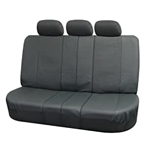 FH Group Deluxe Leatherette Split Bench Seat Cover W. 3 Headrests Gray