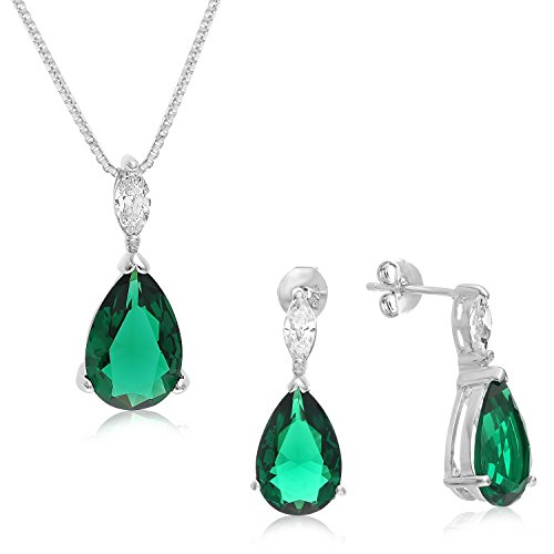 Sterling Silver 3 in 1 Matching Pear Shape Earrings, Pendant and Necklace. (Green (Shape Pendant Earrings)