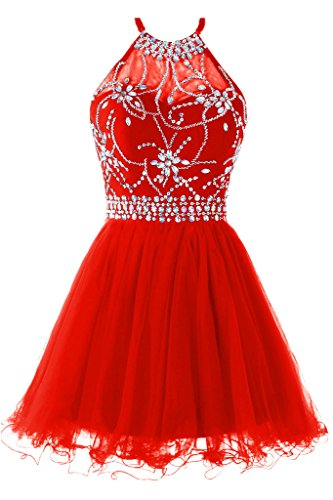 Musever Women's Halter Short Homecoming Dress Beading Tulle Prom Dress Red US 6 Beading Organza Homecoming Dress