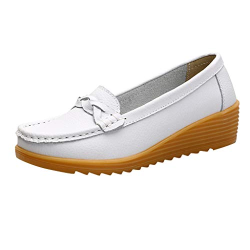 Respctful✿Women'S Flats Leather Loafers Slip On Round Toe Wild Driving Casual Comfy Flat Boat Shoes White -