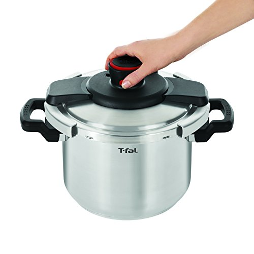 T-fal P45007 Clipso Stainless Steel Dishwasher Safe PTFE PFOA and Cadmium Free 12-PSI Pressure Cooker Cookware, 6.3-Quart, Silver by T-fal (Image #3)