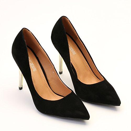 8 gamuza de de punta en de con 3 Unido altos diseño Tacones mujer Reino clásico aguja punta para negra wxUOqfOF