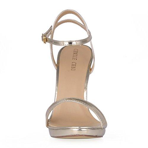 Nuziale Tacco Moda Sandali Partito alla CHMILE Oro Spillo Sposa Donna da 1cm Cinturino patent a Alto Caviglia Eleganti Piattaforma Scarpe CHAU OxxqX7z