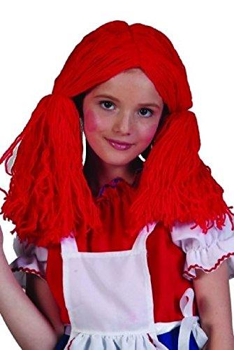 OvedcRay Red Rag Doll Child Girl Wig Red Yarn Raggedy Ann Costume (Raggedy Ann Costume Face)