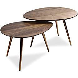 Edloe Finch Mid Century Modern Coffee Table Set by Coffee Tables for Living Room - Contemporary & Retro Low Walnut Wood Midcentury Nesting Table - 2 Piece Set