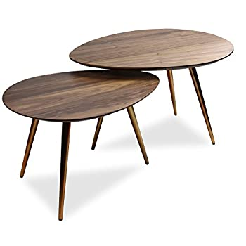 Mid Century Modern Coffee Table Setby Edloe Finch - Coffee Tables for Living Room - Contemporary & Retro Low Walnut Wood Midcentury Nesting Table- 2 Piece Set