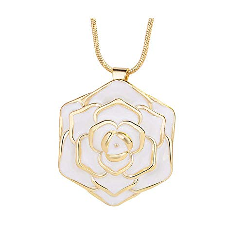 24K Gold-Plated Necklace,Futemo Fashion Colorful Rose Pendant Clavicle Chain Jewelry Engraved Gift Choker for Women Girl ()