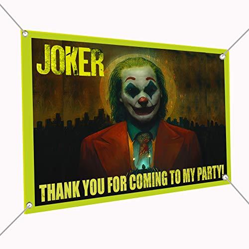 "Joker Movie Banner Large Vinyl Indoor or Outdoor Banner Sign Poster Backdrop, Party Favor Decoration, 30"" x 24"", 2.5"