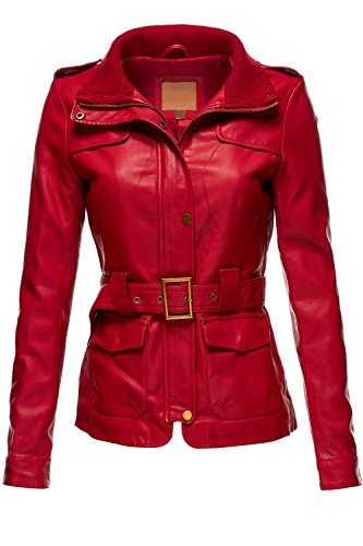 Belted Babydoll Faux Leather Trenchy Coat Jackets,065-Red,Large