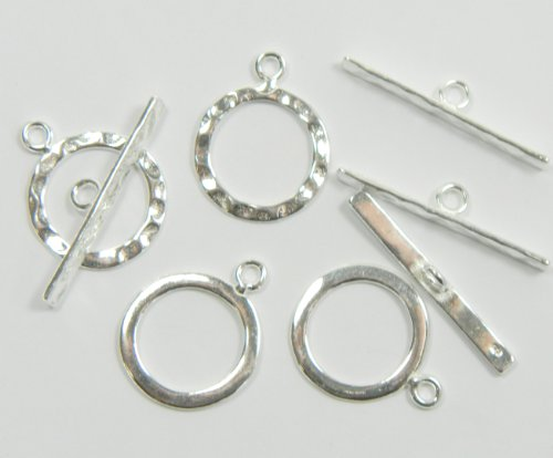 4 Full Hammered .925 Sterling Silver Jewelry Toggle Clasps 14mm. 4 Clasps 8 Pieces Jewelry Findings ()