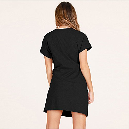 Sleeve Work Belt Elegant Women's Dress ALAIX Dress Black Casual Pencil Short Office wCaIaq