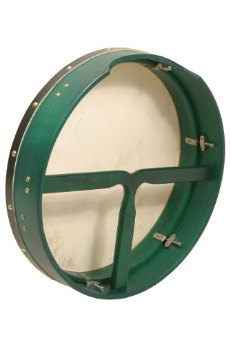 Bodhran, 16''x3.5'', Tune, Green, T-Bar by Mid-East