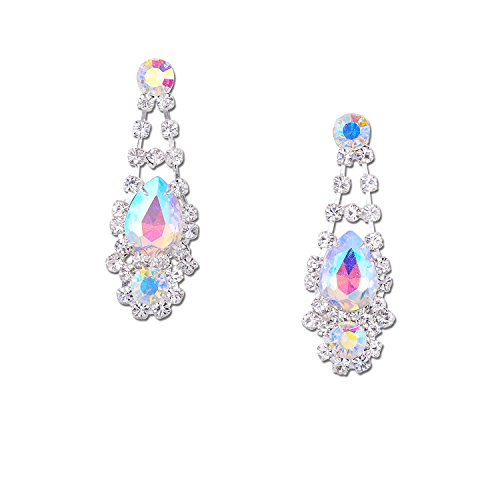 Silver Crystal Rhinestone with Aurora Borealis Multi Shape Chandelier Drop Dangle Earrings (Multi Shape Earrings Chandelier)