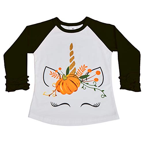Baby Toddler Girl Icing Ruffle Tops Unicorn Raglan T-Shirt Boutique Tee Soft Shirt Halloween Costume Birthday Clothes Black Unicorn 2-3 Years]()