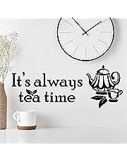'It's Always Tea Time' väggklistermärke konst kök klistermärken vinyl dekor hem koppar bräda dekal kopp kakel citat kaffe wrap dekal dekoration dekaler väggar citat dörr pub självhäftande överföring schablon skåp