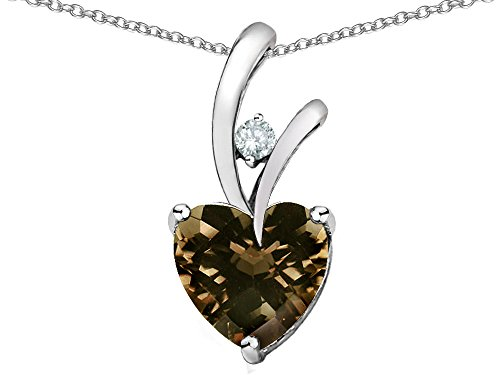 Star K 8mm Heart Shape Genuine Smoky Quartz Endless Love Pendant Necklace Sterling - Silver Smoky Necklace Quartz Sterling