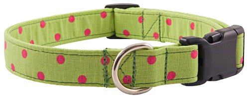 Country Brook Design Deluxe Lime Green Polka Dots Designer Dog Collar - Large