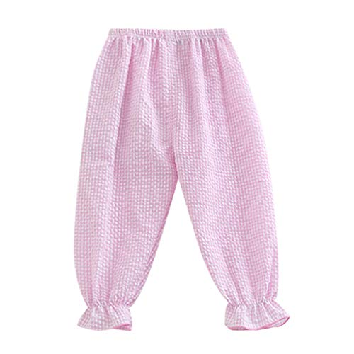 - Baby Pants Elastic Waist Anti-Mosquito Casual Plaid Summer Thin Loose Harem Trousers Pink